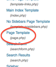 wordpress, edit template, page.php