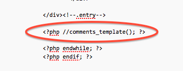 wordpress, edit pagephp, remove comments