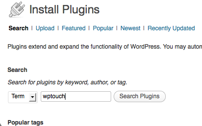 wordpress, plugin search, wptouch, make your blog mobile friendly