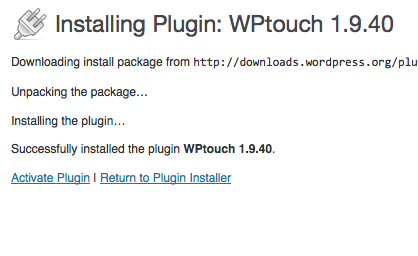 wptouch, activate plugin, make blog mobile friendly