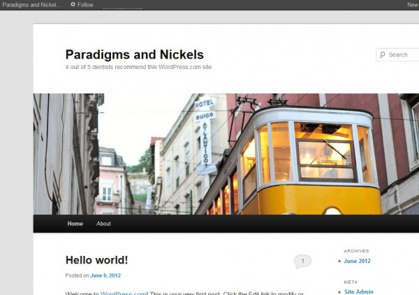 wordpress blog, initial look