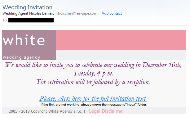 You Are Not Invited To Our Wedding: Wedding Invitation Email Scam (White Wedding Agency