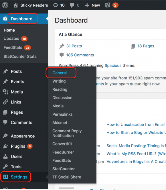 blogging, WordPress Dashboard screen