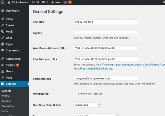 blogging, wordpress-general-settings-page