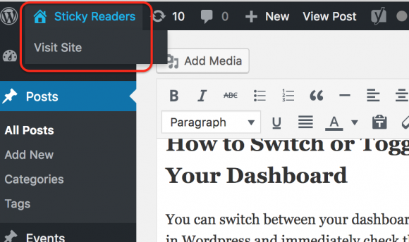 blogging, switching from dashboard to site