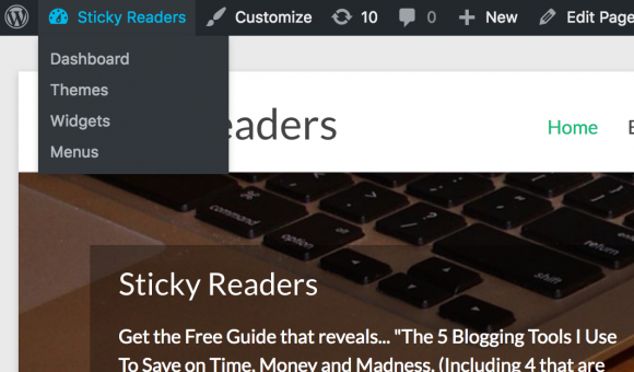blogging, wordpress site to dashboard