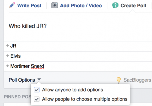facebook poll options