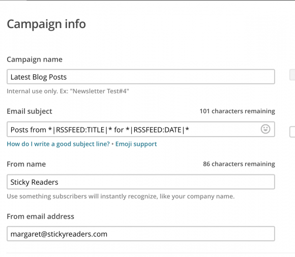 mailchimp, campaign info