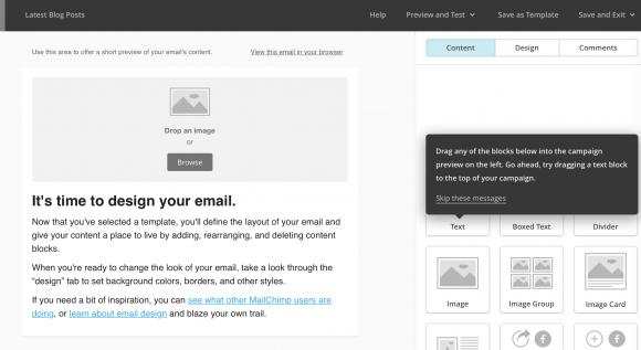 mailchimp, design page