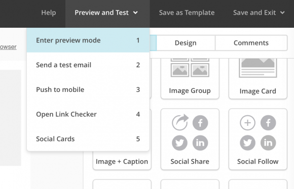 mailchimp, preview mode